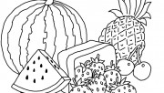 Print out Watermelon and pineapple coloring pages