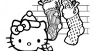 Printbale coloring pages CHRISTMAS HELLO KITTY