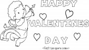 Print out happy valentines day cupid coloring card