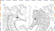 Free seahorse coloring pages for adults