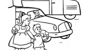Coloring pages girl and boy looking at the car in the city