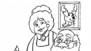 Print out coloring pages Santa Claus watching wishlist