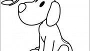Coloring pages print out Pocoyo Dog and Butterfly
