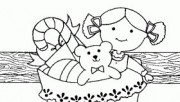 Printabel Christmas sock hung with teddy bear and doll coloring page