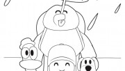 Coloring pages printabel Pocoyo Loula and Pato are enjoying the rain
