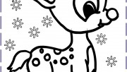 Christmas Baby Reindeer Printable Coloring pages
