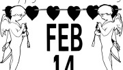Printable February 14th Valentines Day Cherubs and Hearts