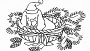 Printable christmas animal Puppy with Santa Hat coloring pages