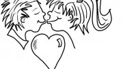 Printable Valentine girls and boy Couple Kisses Coloring Page