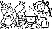 kids costumes Halloween coloring pages free