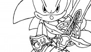 Printable  Character Sonic holding swords coloring pages